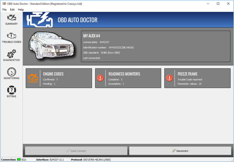 OBD Auto Doctor gives you an overall picture of your vehicle's engine health.