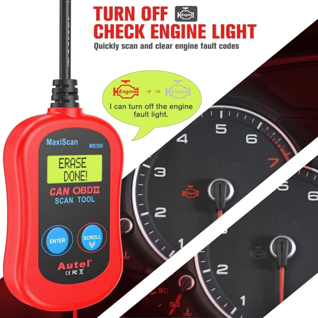Autel MS300 quickly scans and clears engine fault codes.