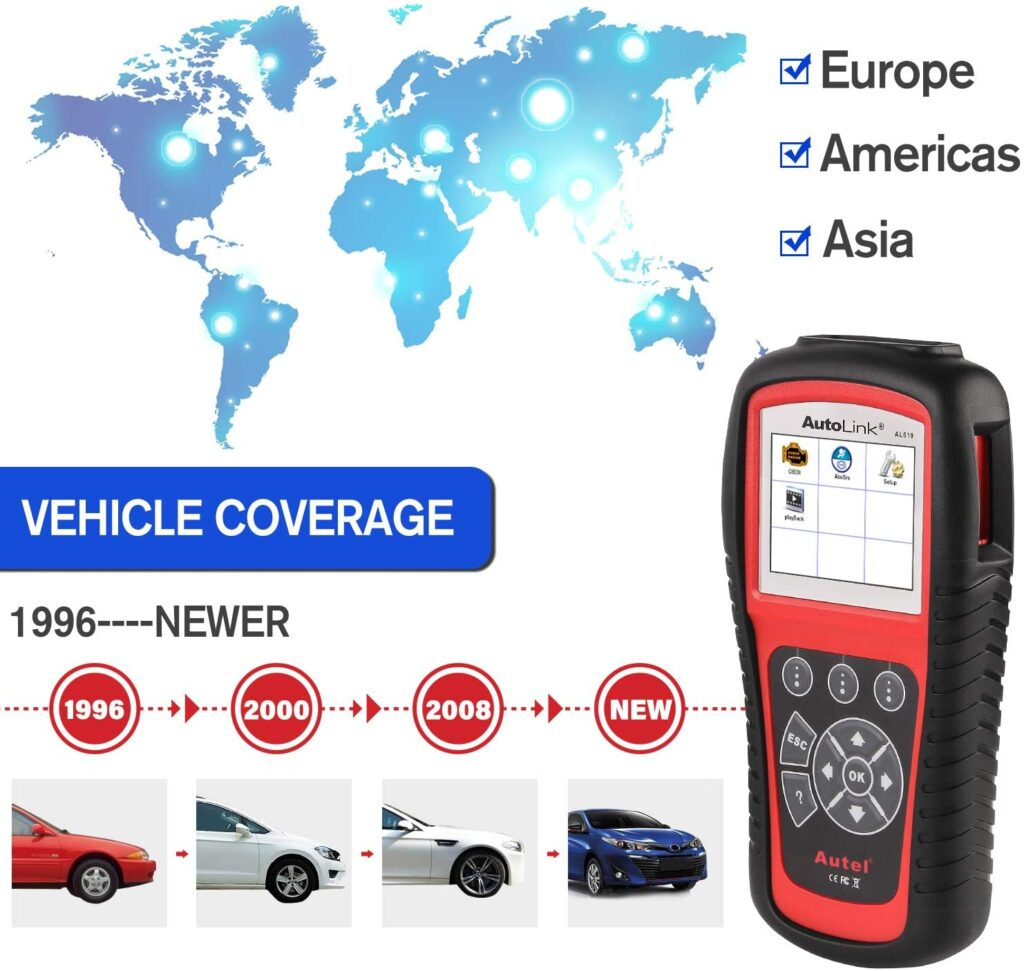 Autel AL619 works on European, American and Asian vehicles.