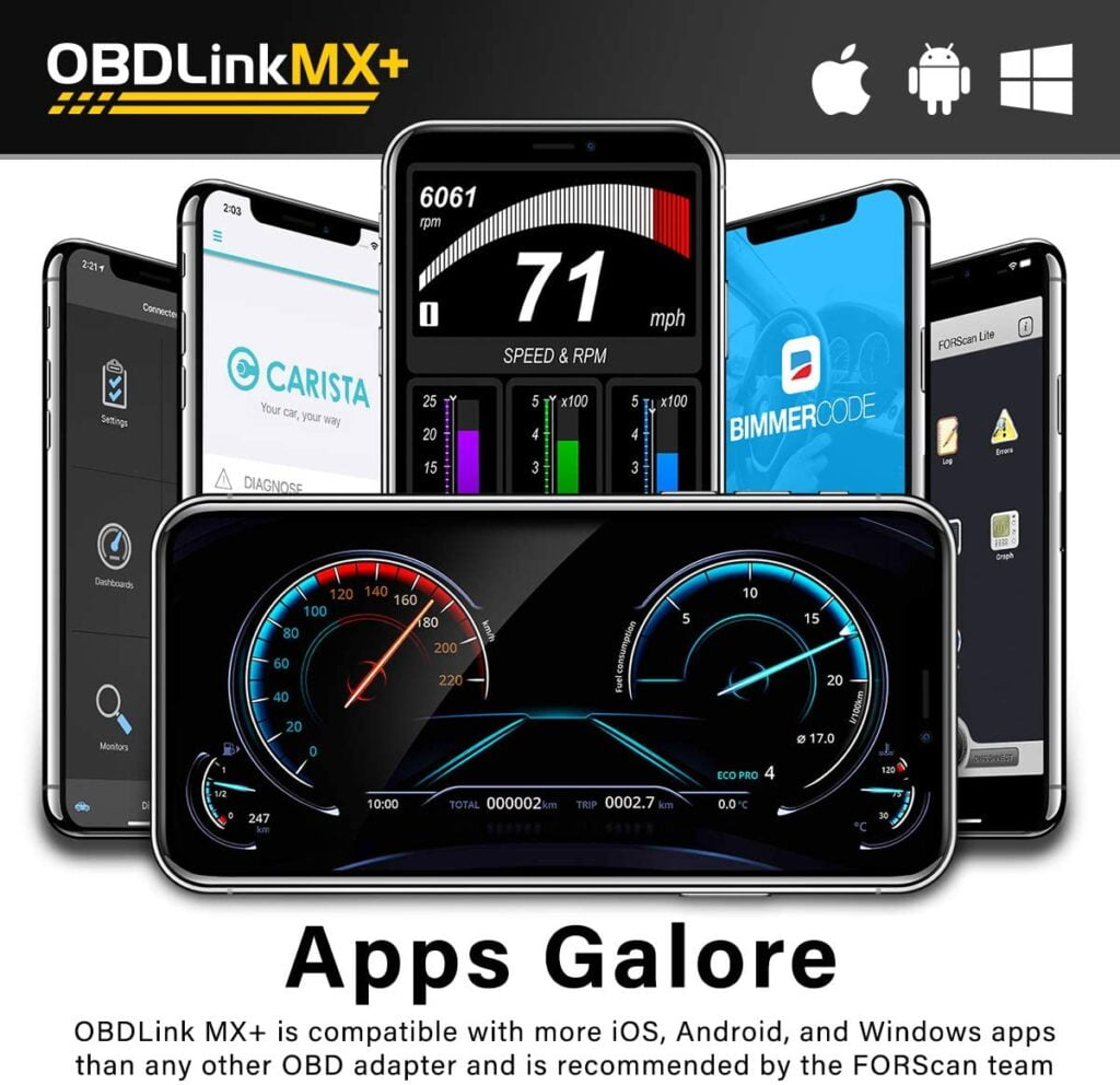 OBDLink MX+ is compatible with many iOS, Android, and Windows apps