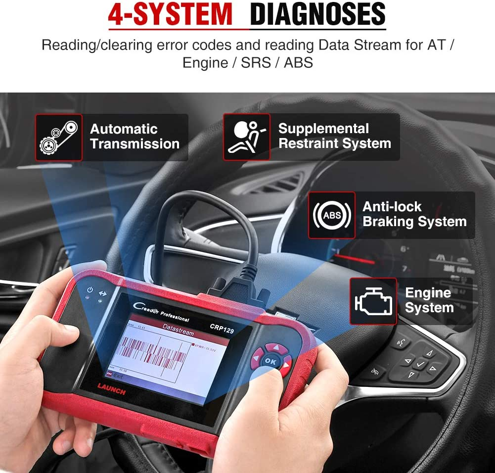 LAUNCH CRP129 helps you read engine, ABS, SRS and transmission