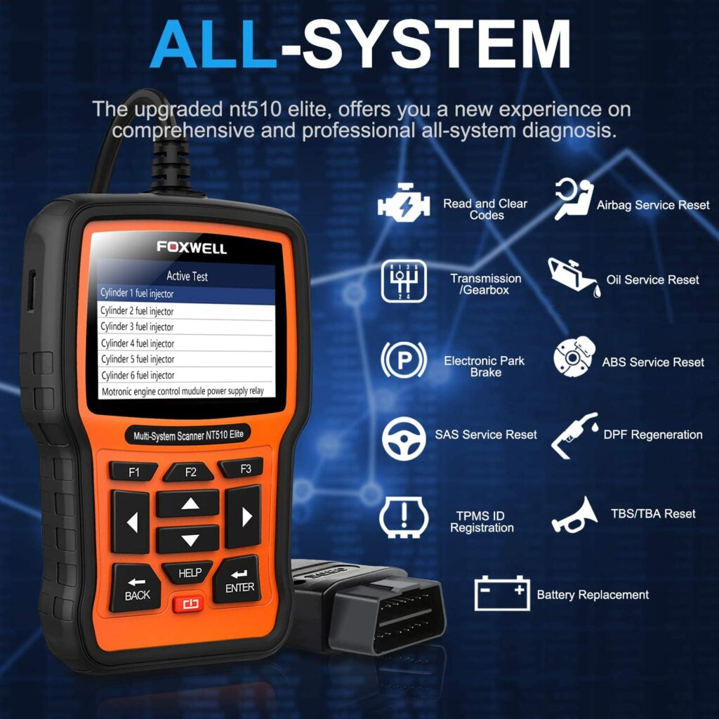 FOXWELL NT510 Elite is an all-system scanner.