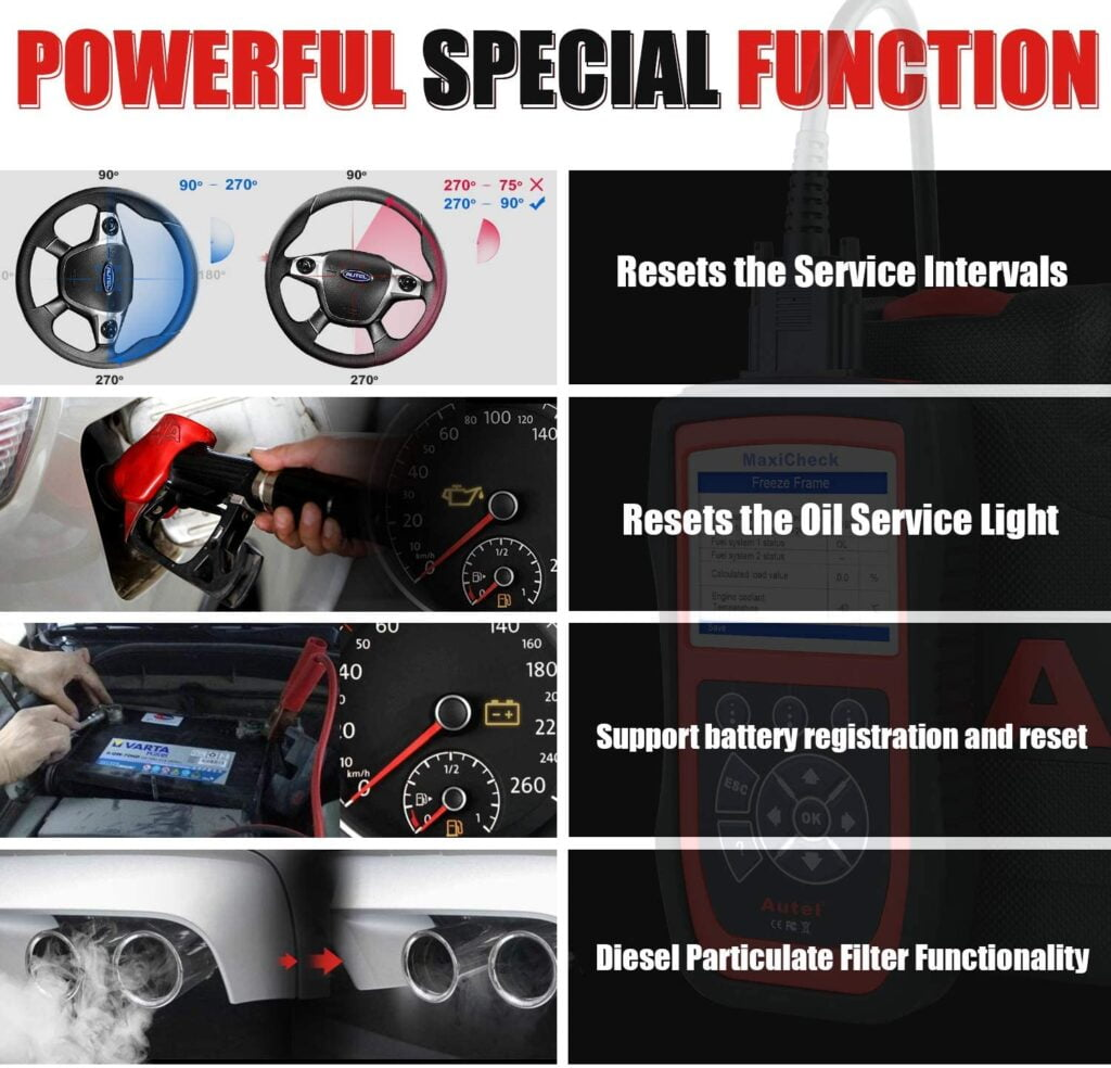 Autel MaxiCheck Pro supports many special functions.