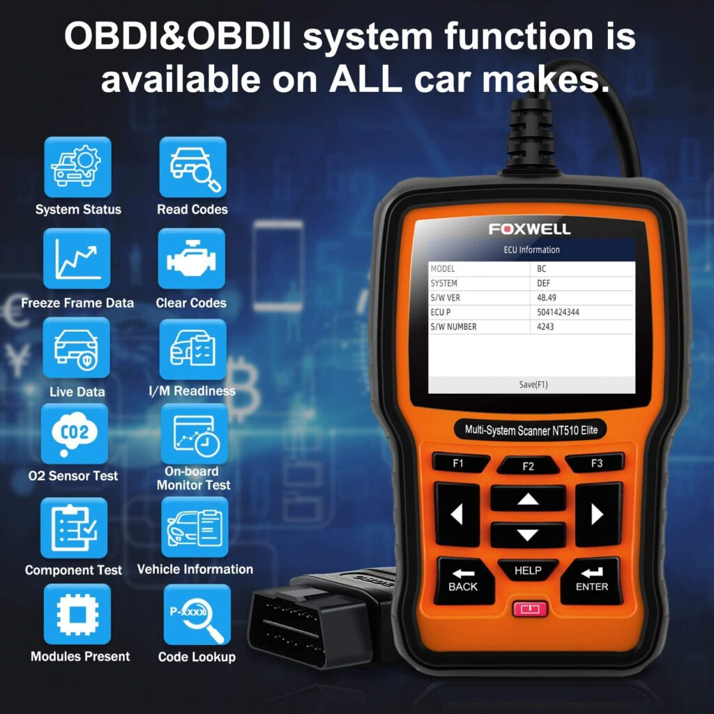 FOXWELL NT510 Elite has all OBDI & OBDII system functions.