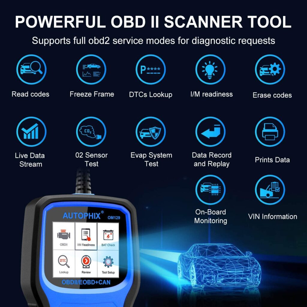 AUTOPHIX OM129 is a powerful scanner supporting full OBD2 modes.