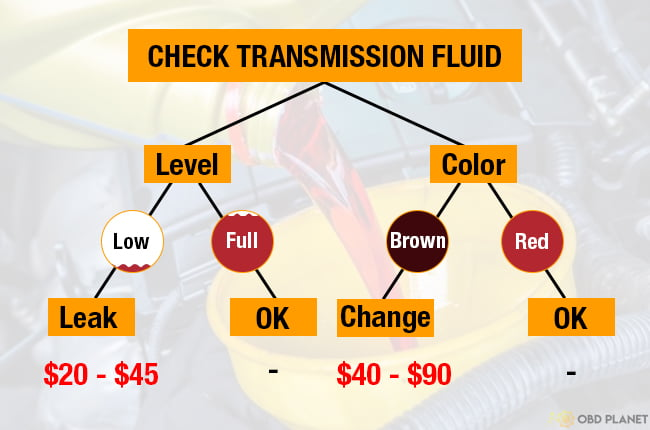 Check transmission fluid level and color