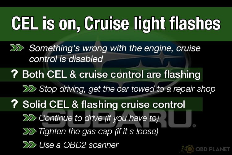 How to fix Subaru check engine light, cruise control flashes